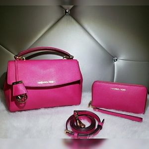Michael Kors Ava Raspberry Pink Satchel Set.